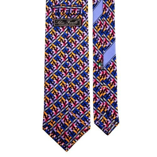 Multicolour Geometric Silk Tie
