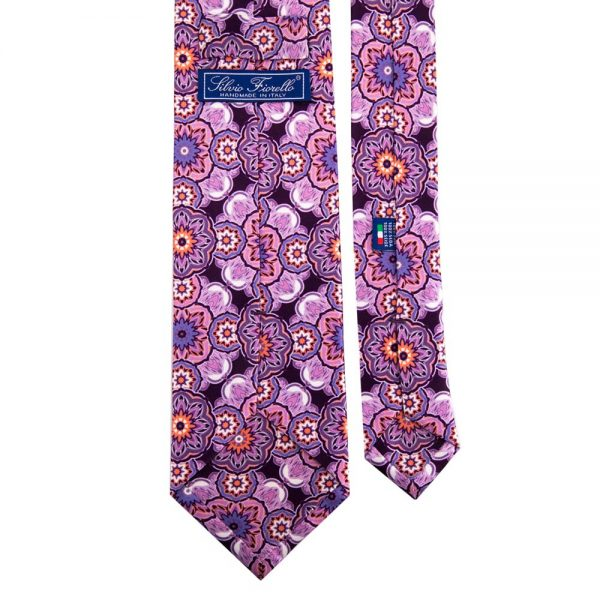 Oversized Floral Pattern Printed Silk Tie