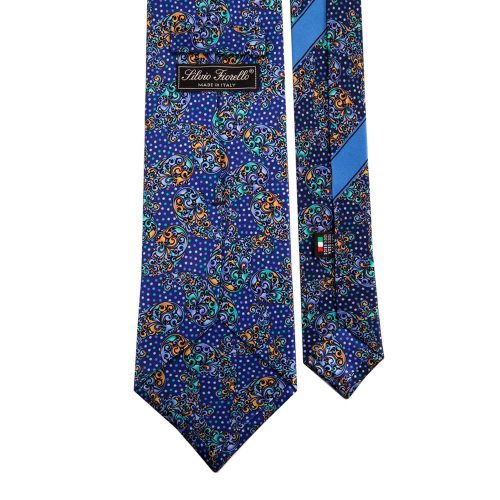 Contemporary Blue Printed Paisley Silk Tie