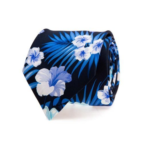 Handmade Italian Tie Navy Flowers and Palms Satin Silk Tie