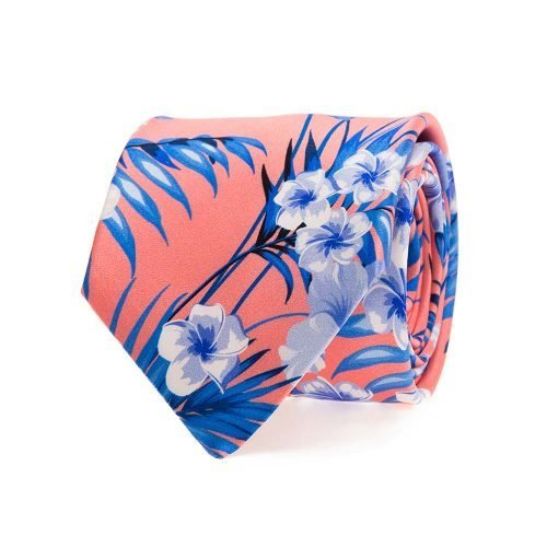 Handmade Italian Tie Coral Flowers and Palms Satin Silk Tie