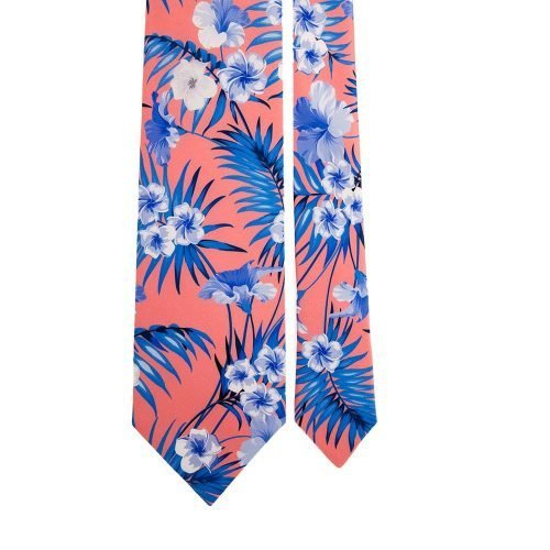 Coral Flowers and Palms Satin Silk Tie