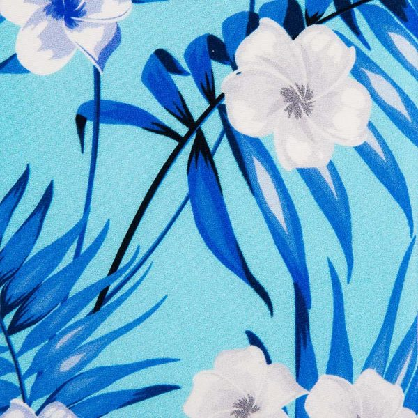 Turquoise Flowers and Palms Satin Silk Tie
