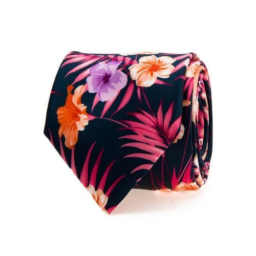 Handmade Italian Tie Navy and Fuchsia Flowers and Palms Satin Silk Tie