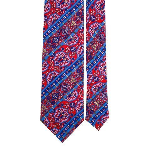 Red Medallions and Stripes Satin Silk Tie