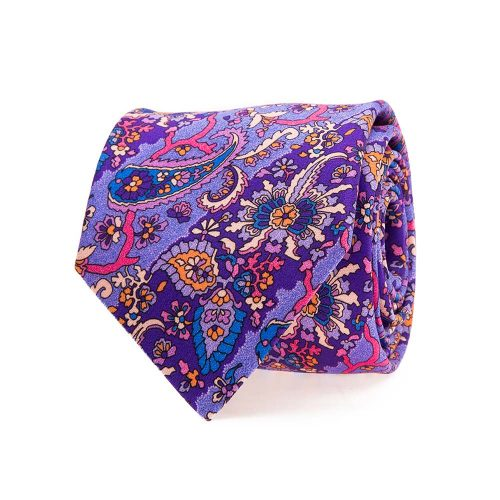 Handmade Italian Tie Purple Paisley and Stripes Satin Silk Tie