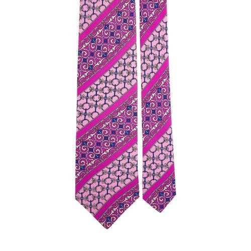 Pink and Fuchsia Ornamental Motif and Stripes Satin Silk Tie