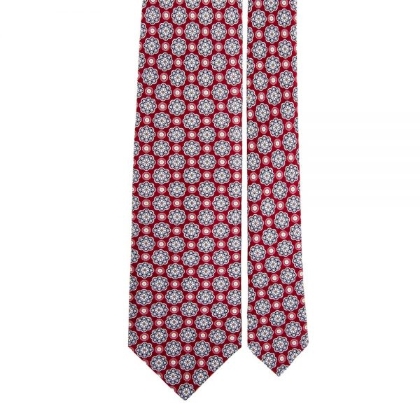 Red Medallion Motif Printed Silk Tie