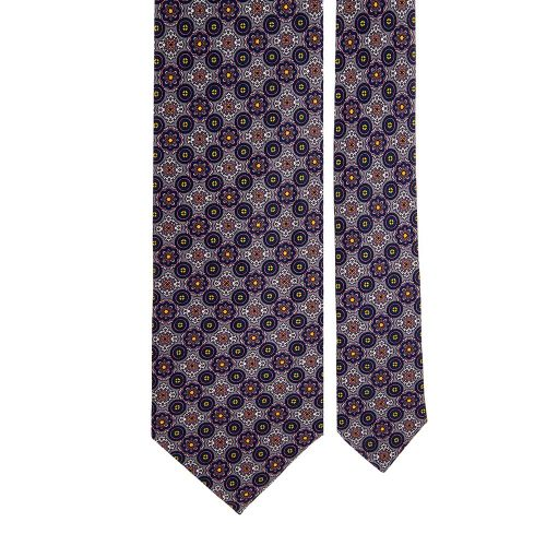 Grey and Blue Ornamental Motif Satin Silk Tie