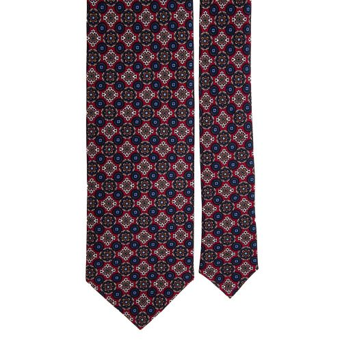 Grey and Red Medallion Motif Printed Silk Tie