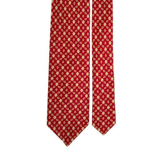 Red Geometric Vintage Motif Satin Silk Tie
