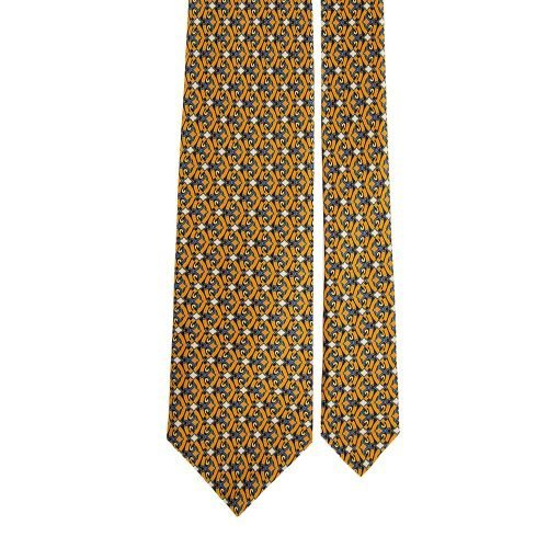 Mustard and Blu Ornamental Vintage Motif Satin Silk Tie