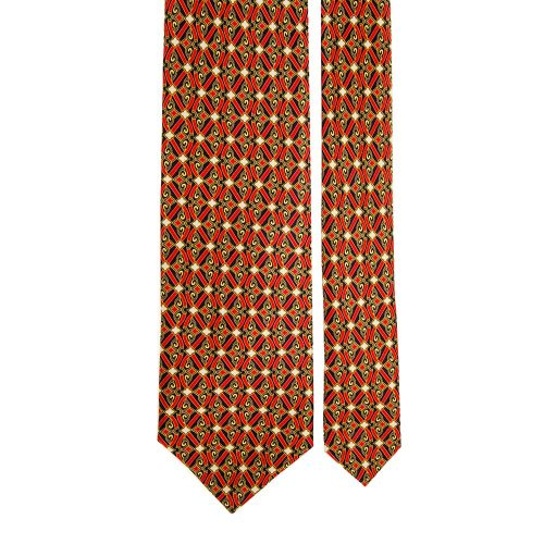 Red and Navy Ornamental Vintage Motif Satin Silk Tie