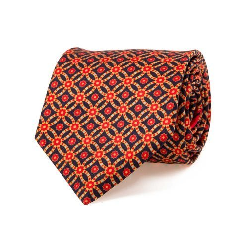 handmade italian tie Red and Navy Geometric Ornamental Vintage Motif Satin Silk Tie