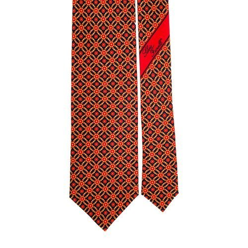 Red and Navy Geometric Ornamental Vintage Motif Satin Silk Tie