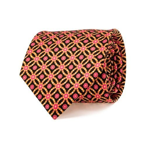 handmade italian tie Black and Pink Geometric Ornamental Vintage Motif Satin Silk Tie