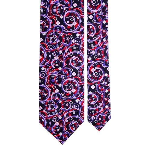 Navy Multicolour Abstract Motif Printed Silk Tie