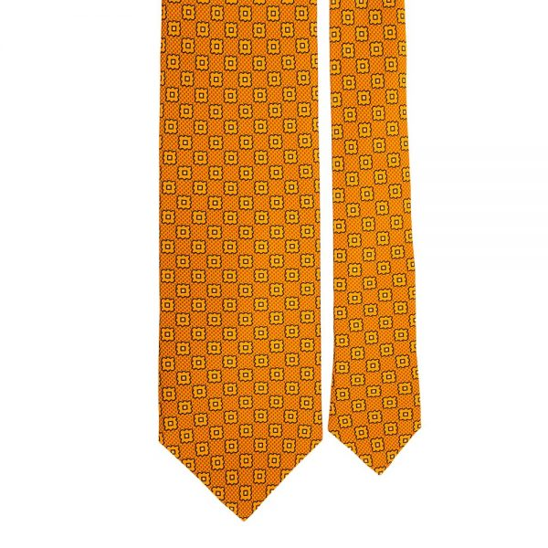 Orange Geometric Motif Printed Silk Tie