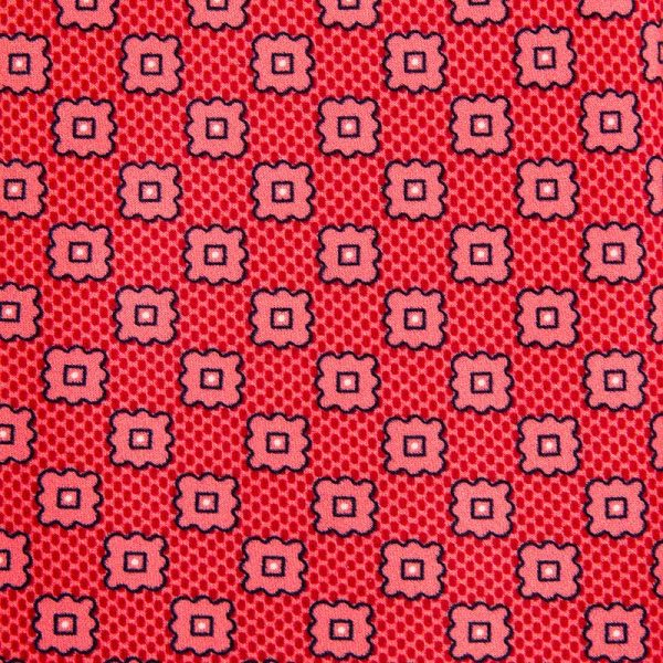 Red and Pink Geometric Motif Printed Silk Tie