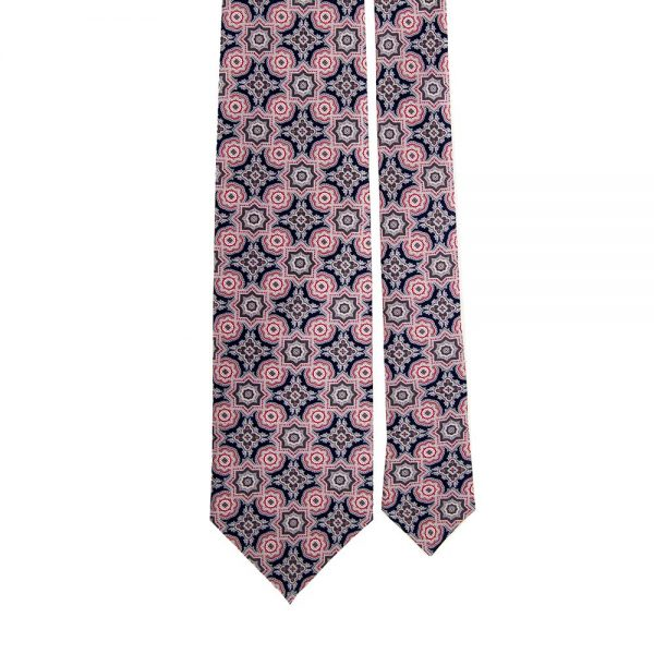 Navy and Red Rich Medallion Motif Printed Silk Tie
