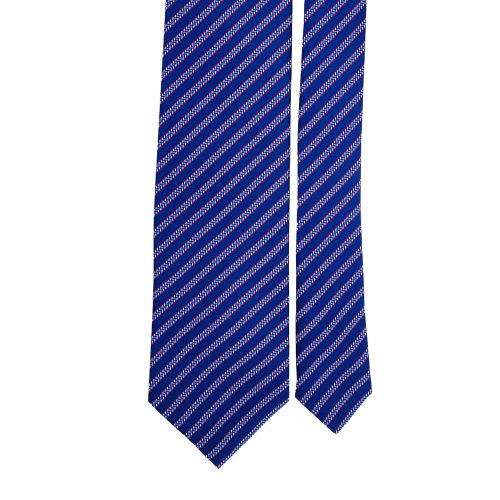 Blue Navy Stripe Motif Printed Silk Tie