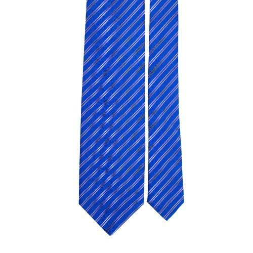 Royal Blue Stripe Motif Printed Silk Tie