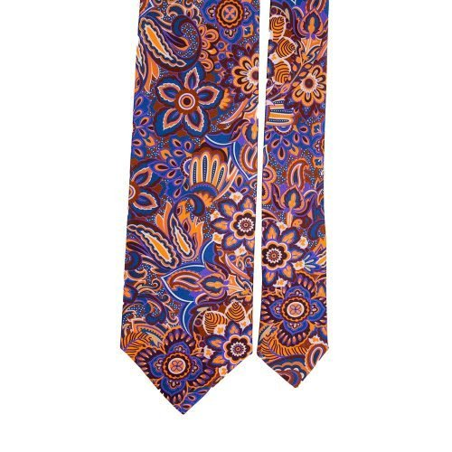 Orange and Blue Floral Motif Satin Silk Tie