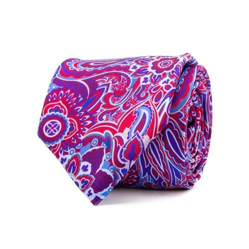 handmade italian tie Red and Blue Floral Motif Satin Silk Tie