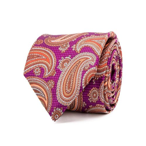 handmade italian tie Purple Classic Paisley on Textured Background Satin Silk Tie