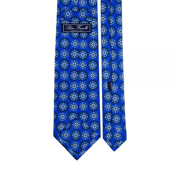 Blue Classic Floral Medallion Motif Printed Silk Tie