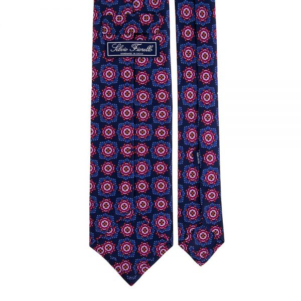 Blue and Fuchsia Classic Floral Medallion Motif Printed Silk Tie