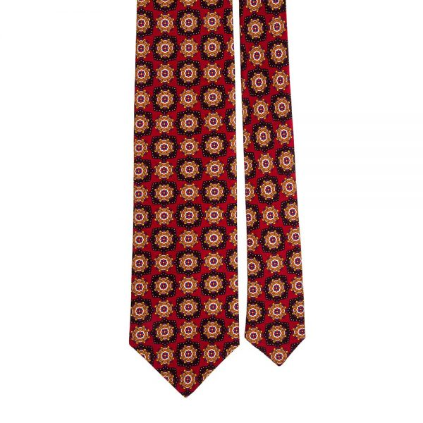 Red Classic Floral Medallion Motif Printed Silk Tie