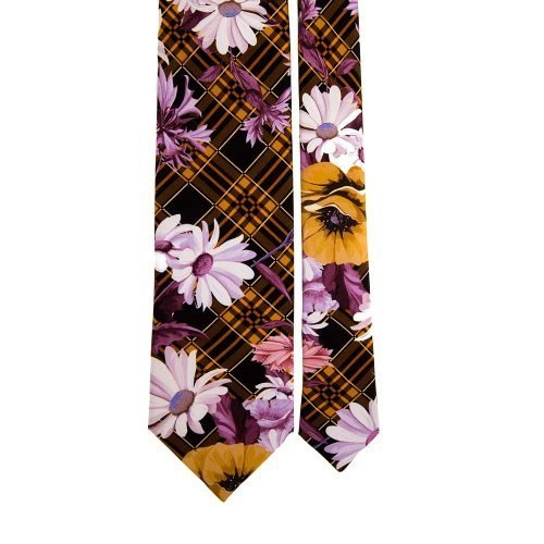 Multicolour Tartan and Flowers Satin Silk Tie