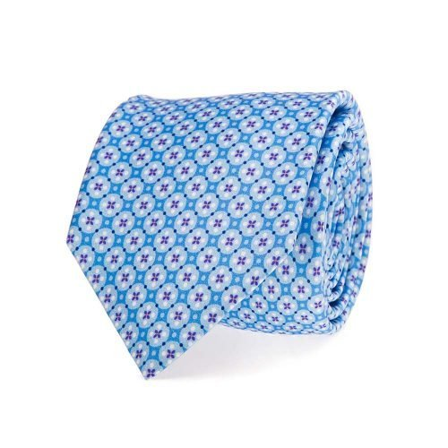 handmade italian tie Light Blue Ornamental Motif Satin Silk Tie