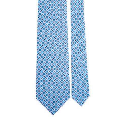 Light Blue Ornamental Motif Satin Silk Tie