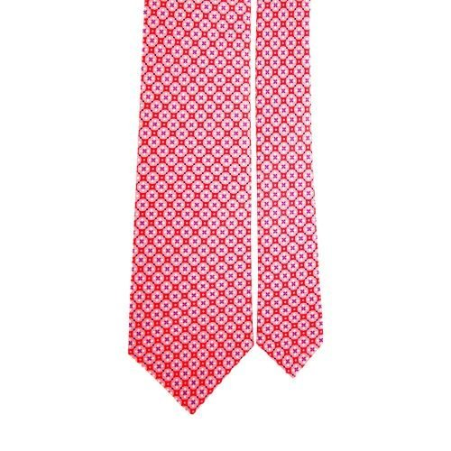 Pink Ornamental Motif Satin Silk Tie