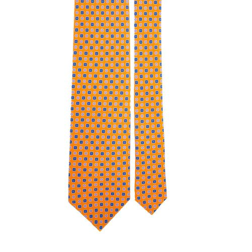 Orange Micro Geometric Pattern Satin Silk Tie