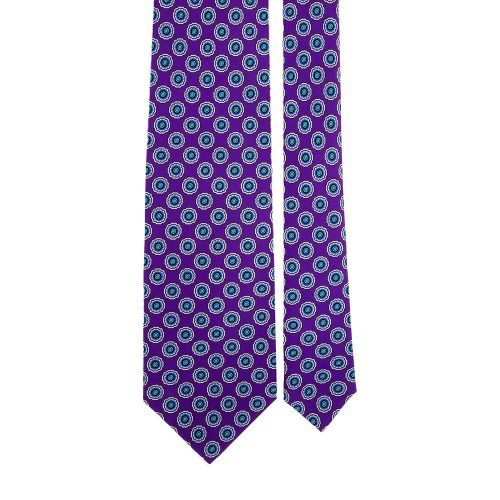 Purple Medallion Motif Satin Silk Tie