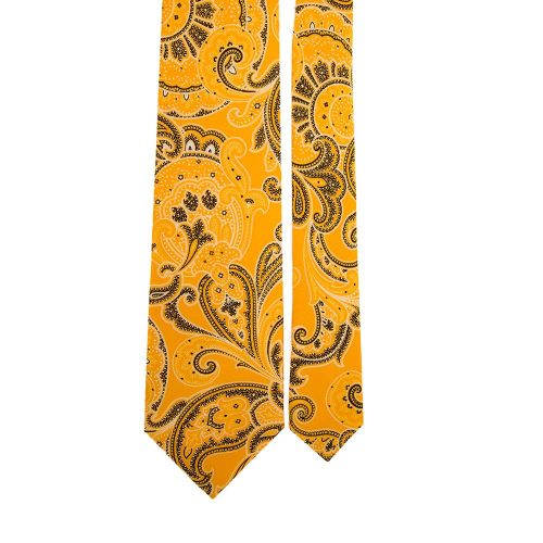 Yellow Paisley Silk Tie