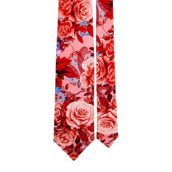 Pink Flowers and Paisley Satin Silk Tie