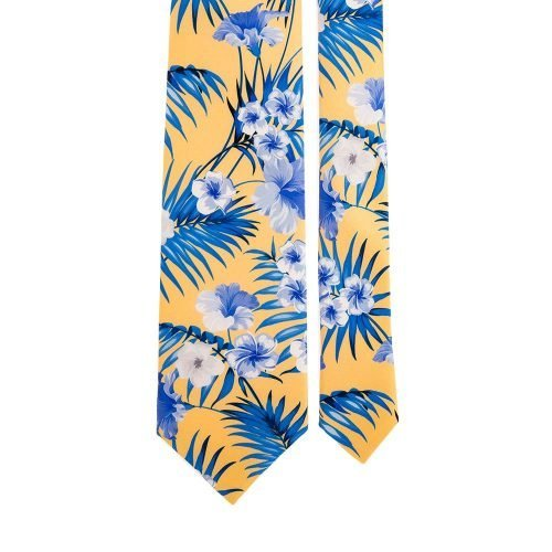 Yellow Flowers and Palms Satin Silk Tie
