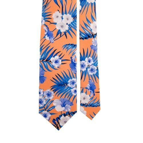 Orange Flowers and Palms Satin Silk Tie