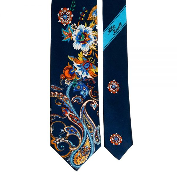 Navy Blue Multicolour Paisley and Flowers Printed Silk Tie