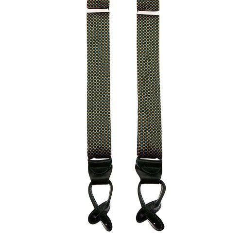 Handmade Green Micro Motif Silk and Leather Braces