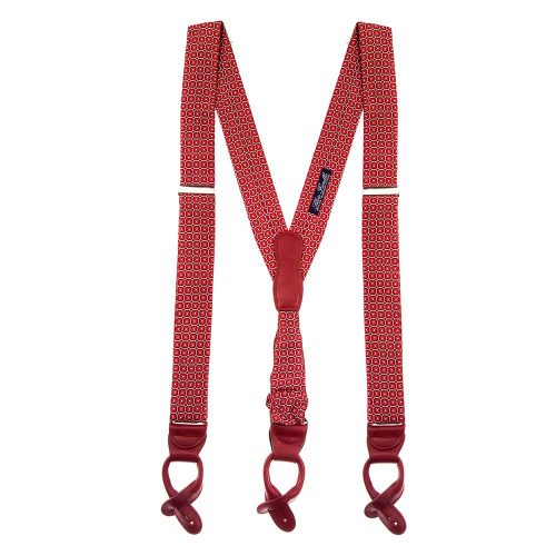 Handmade Italian Red Ornamental Motif Silk and Leather Braces