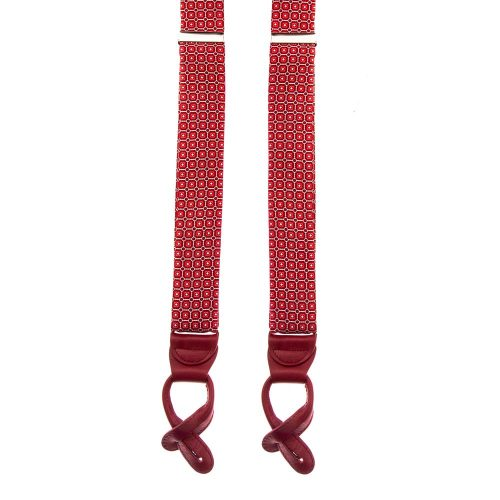 Red Ornamental Motif Silk and Leather Braces