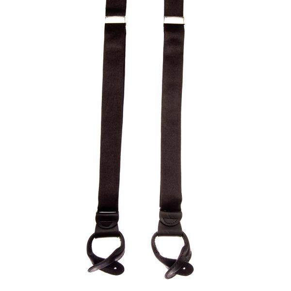Handmade Black Silk and Leather Braces