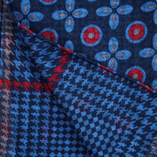 Blue Medallions and Prince of Wales Motif Hand Rolled Silk Wool Scarf