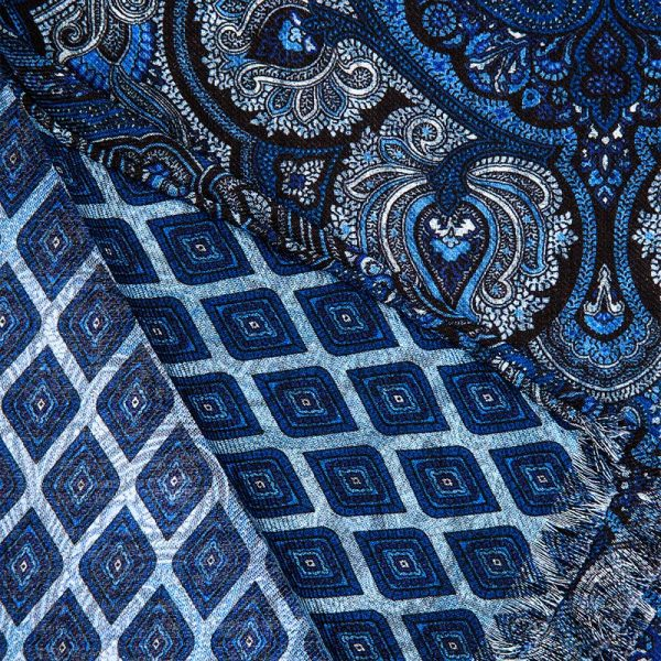 Blue Paisley Ornamental Hand Rolled Silk Wool Scarf