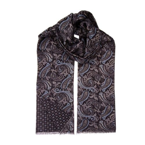 Handmade Italian Black and Blue Paisley and Small Medallion Motif Hand Rolled Silk Wool Scarf